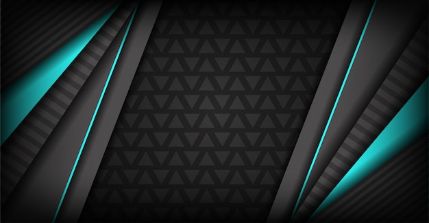 Luksusowe ciemnoszare tło z niebieskimi liniami neonowymi