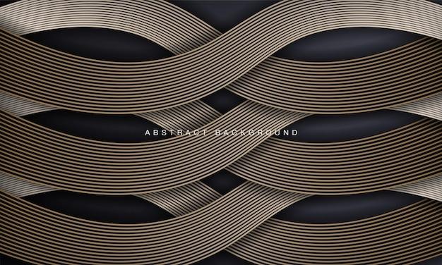 Luksusowe czarne abstrakcyjne tło z elementem linii złotej fali
