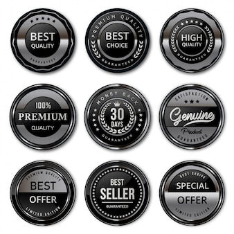 Luksusowe czarne i srebrne odznaki i etykiety najwyższej jakości