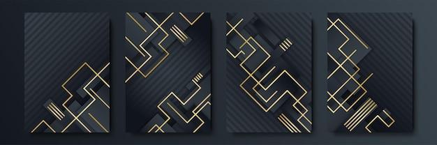 Luksusowe czarne i złote tło. zaprojektuj szablon mediów społecznościowych, kartkę z życzeniami, biznes, prezentację, zaproszenie, baner i certyfikat