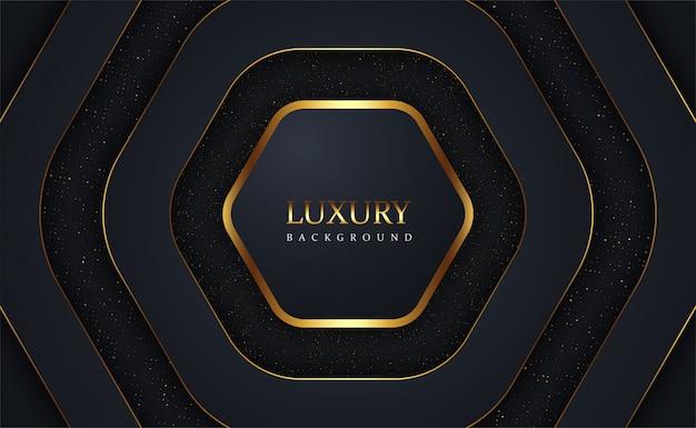 Luksusowe czarne nakładają się złote błyszczy tło