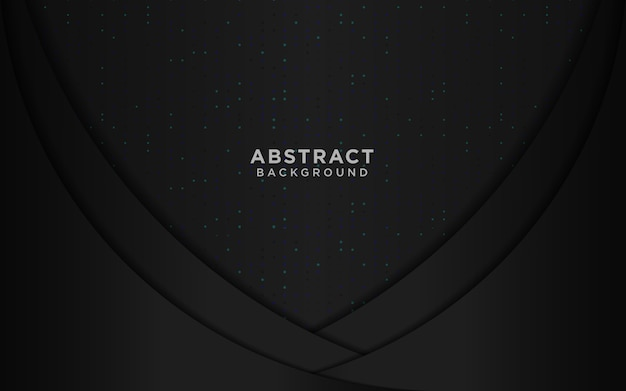 Luksusowe czarne tło z falowym okręgiem nakładają się na siebie warstwy i niebieskie brokaty
