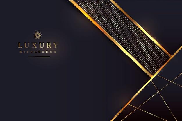 Luksusowe czarne tło z połączeniem błyszczącego złota w stylu 3d. element graficzny.