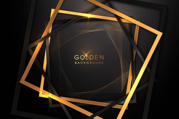 Luksusowe czarne tło z połączeniem błyszczącego złota w stylu 3d.
