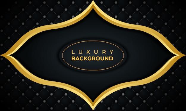 Luksusowe czarne tło z złotej ramie