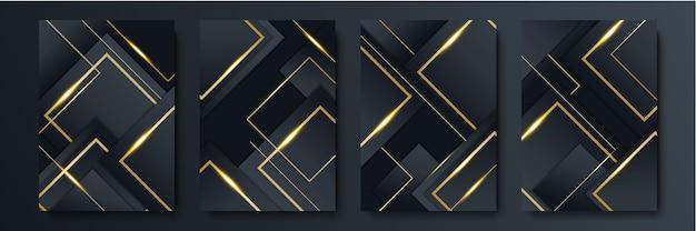 Luksusowe czarne tło złoto. nowoczesny elegancki baner prezentacji biznesowych. garnitur dla szablonu mediów społecznościowych, okładki, karty wzorcowej, kartki okolicznościowej, zaproszenia. ilustracja wektorowa.
