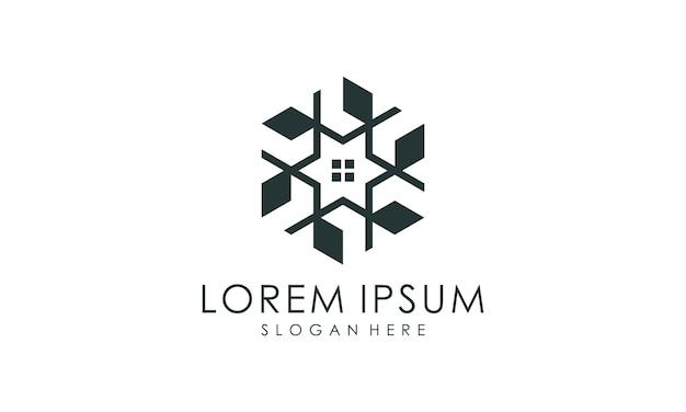 Luksusowe czarne wnętrze logo z monogramem