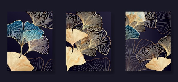 Luksusowe czarno-białe tło ze złotymi liśćmi miłorzębu. stylowy botaniczny design z liniami do wnętrza.