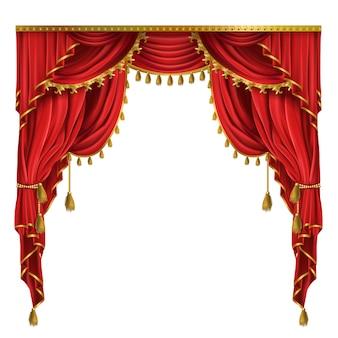 Luksusowe czerwone zasłony w wiktoriańskim stylu, z draperią, przewiązane złotym sznurkiem