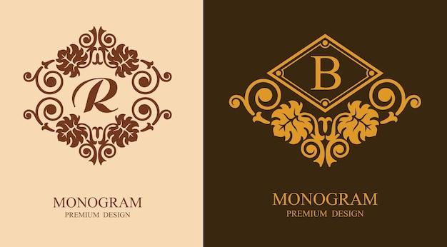Luksusowe elementy projektu monogram r i b. luksusowe eleganckie logo linii ornament ramki. dobre dla znaku królewskiego, restauracji, butiku, kawiarni, hotelu, heraldycznego