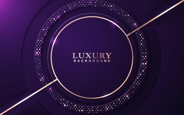 Luksusowe fioletowe tło z dekoracją złote błyszczy