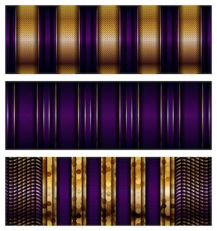 Luksusowe geometryczne fioletowe nakładają się warstwy tła ze złotą kombinacją