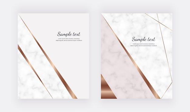 Luksusowe geometryczne karty ze złotymi liniami i trójkątnymi kształtami. modny szablon transparent, ulotki, plakat, okolicznościowe, zaproszenia ślubne
