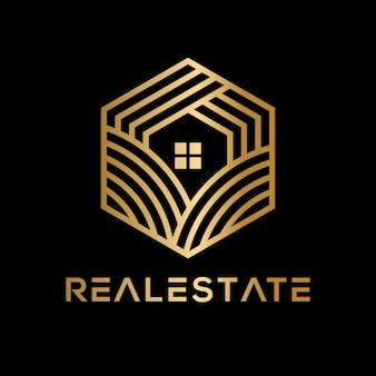 Luksusowe geometryczne logo nieruchomości