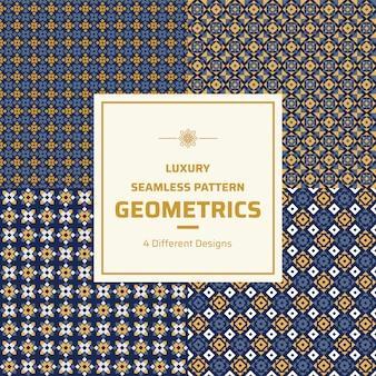 Luksusowe geometryczne wzory bez szwu w czterech różnych stylach