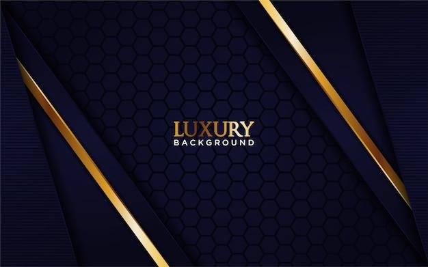 Luksusowe granatowe tło ze złotą linią