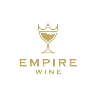 Luksusowe imperium i wino proste, eleganckie, kreatywne geometryczne nowoczesne logo