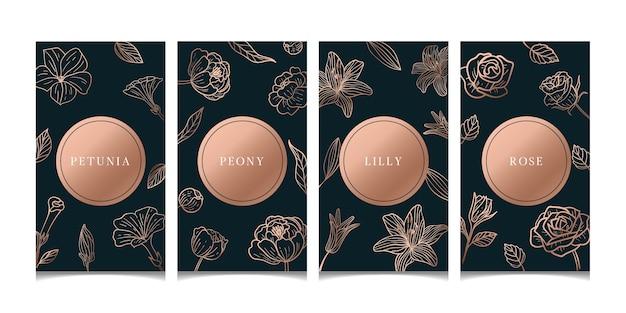 Luksusowe karty kwiatowe w kolorze różowego złota