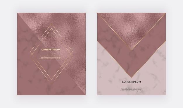 Luksusowe karty w kolorze różowego złota o fakturze folii i marmuru oraz złote wielokątne linie i ramki.