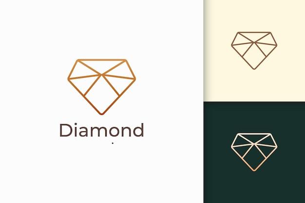 Luksusowe klejnoty lub klejnotowe logo w kształcie diamentowej linii w złotym kolorze