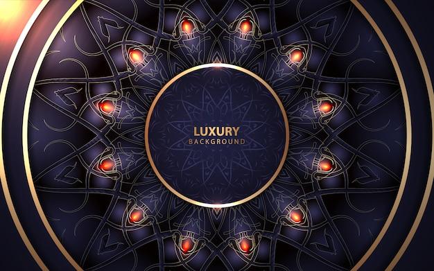 Luksusowe koło granatowe ramki z dekoracją w stylu złotej mandali