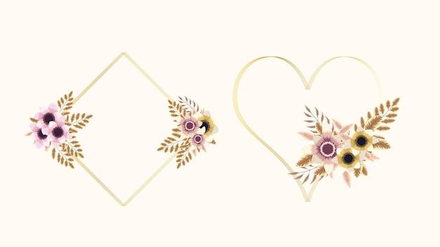 Luksusowe kolorowe kwieciste ramki tło z etykietą vintage