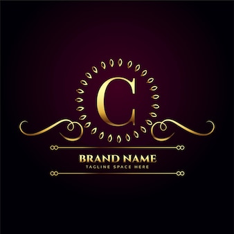 Luksusowe królewskie złote logo na literę c
