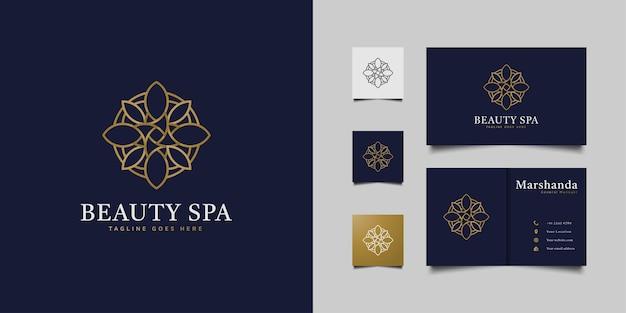 Luksusowe kwiatowe logo z abstrakcyjną i minimalistyczną linią w złotym gradiencie