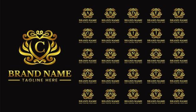 Luksusowe litery tarczowe ustawić szablon logo