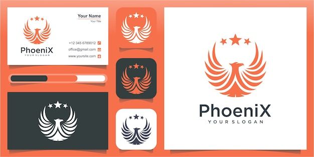 Luksusowe logo feniksa. koncepcja projektowania logo phoenix fire bird. flying phoenix fire bird logo streszczenie szablon projektu.