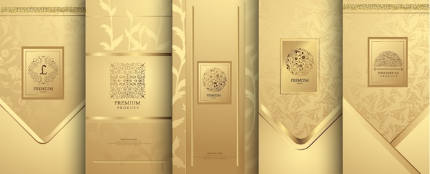 Luksusowe logo i złoty wzór opakowania