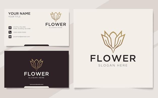 Luksusowe logo kwiatowe i szablon wizytówki
