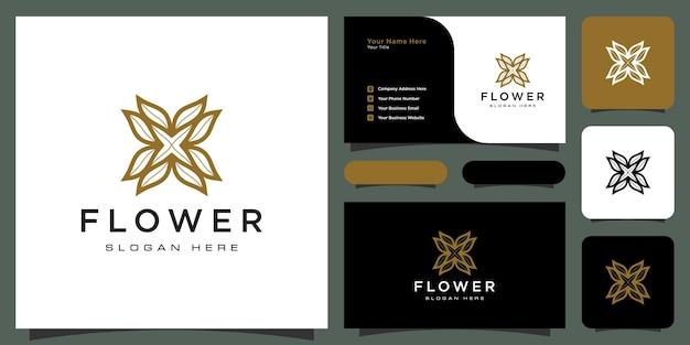 Luksusowe logo kwiatowe mono-line z projektem wizytówki