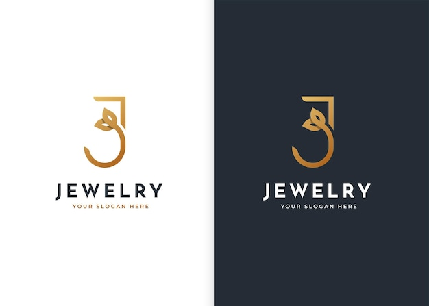 Luksusowe logo litery j z ikoną liścia