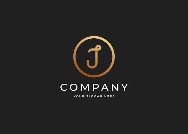 Luksusowe logo litery j z kształtem koła