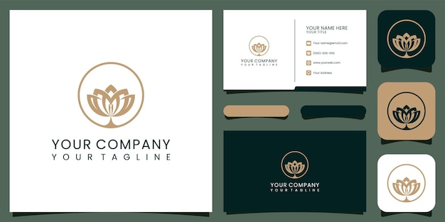 Luksusowe logo lotosu i wizytówka. dobre wykorzystanie logo mody, spa i salonu piękności premium wektorów