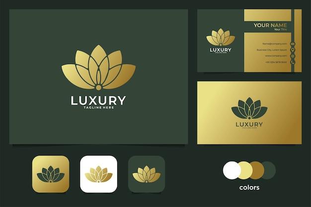 Luksusowe logo lotosu i wizytówka. dobre wykorzystanie logo mody, spa i salonu piękności
