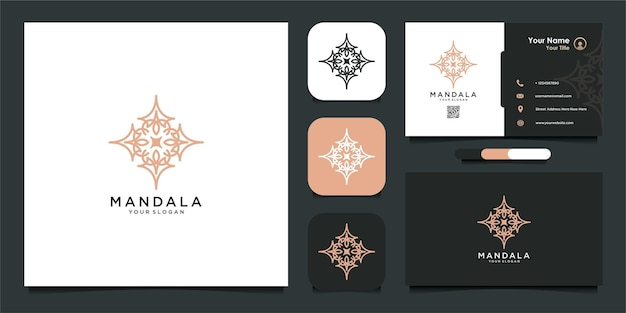 Luksusowe logo mandali i wizytówka premium wektor