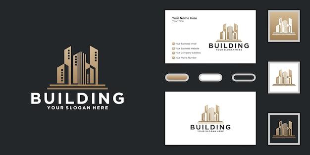 Luksusowe logo miejskiego wieżowca i inspiracja wizytówką