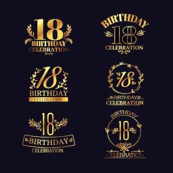 Luksusowe Logo Na 18 Rocznicę Premium Wektorów