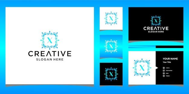 Luksusowe logo x z szablonem wizytówki