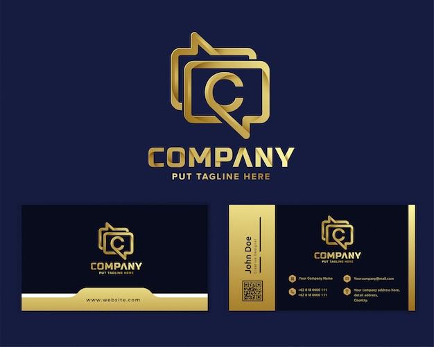 Luksusowe, luksusowe logo aplikacji do przesyłania wiadomości dla firmy