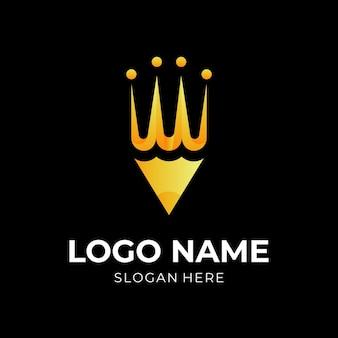 Luksusowe ołówkowe logo, ołówek i korona, połączenie logo w złotym stylu 3d