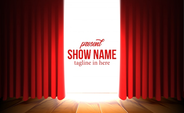 Luksusowe otwarcie czerwone kurtyny tło z show spotlight