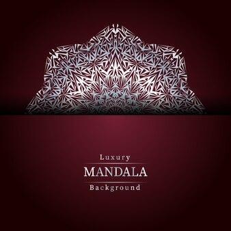 Luksusowe ozdobne tło mandali w kolorze srebrnym,