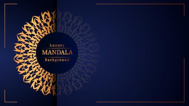 Luksusowe ozdobne tło mandali w kolorze złotym,