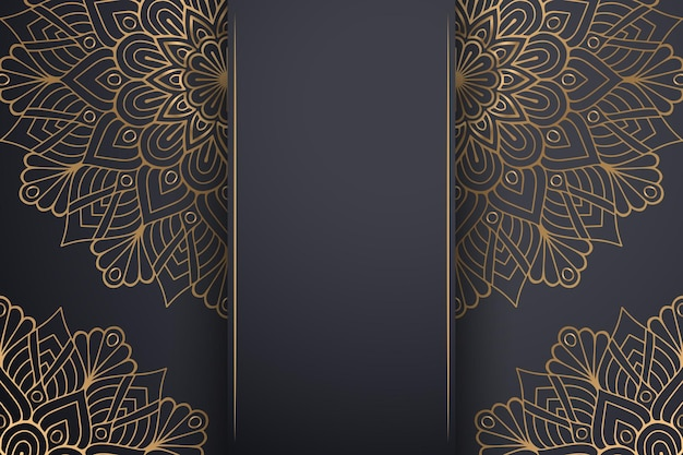 Luksusowe ozdobne tło mandali w kolorze złotym.