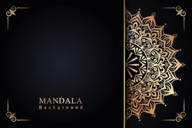 Luksusowe ozdobne tło zaproszenia mandali w stylu islamskim arabeski