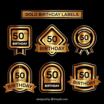 Luksusowe pięćdziesiątych naklejek urodzinowych