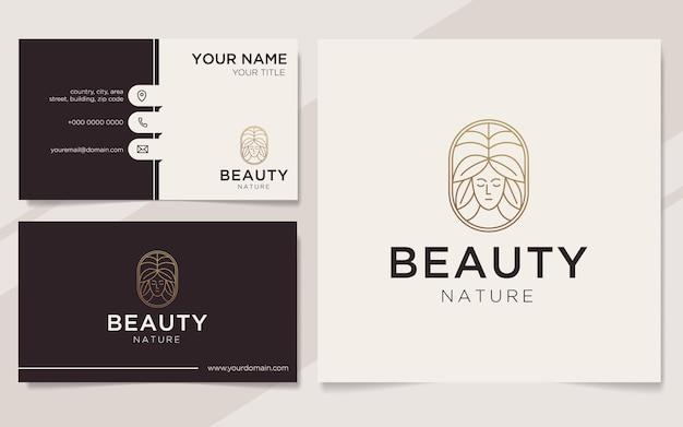 Luksusowe piękno przyrody logo i szablon wizytówki